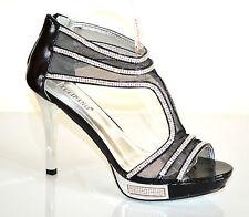 SANDALI DECOLTE' NERI donna TACCO ALTO ARGENTO plateau STRASS scarpe eleganti E2