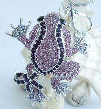 "3.54"" Unique Animal Frog Keychain Pendant Rhinestone Crystal K05853"