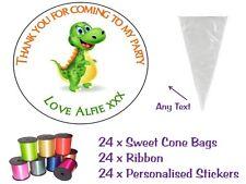 24 DIY Personalised Sweet Sweetie Cone Dinosaur Birthday Party Loot Bags Kit