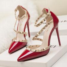scarpe decolte per donna tacco 10cm punta apuntita con cinturino di borchie
