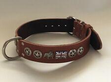 "LEATHER DOG COLLAR-ENGLISH/BRITISH BULLDOG COLLAR REAL LEATHER,1""1/2 WIDE -"