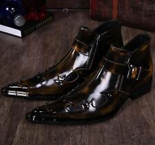 Mens Pointy Toe  Side Zipper Punk Rock Cuban Heel  Ankle Boots Shoes Size
