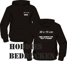 Kapuzensweatshirt bedrucken, Hoodies bedrucken lassen -S-M-L-Xl-XXL. Mit Druck