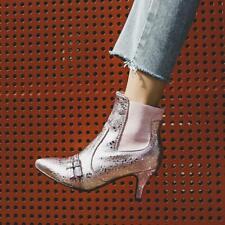 Women Fashion Glitter Metallic Buckle Strap Pointy Toe Kitten Heels Ankle Boots