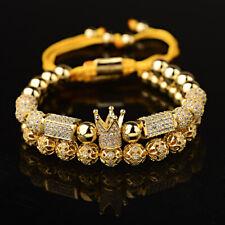 Fashion Women Men Gold Zircon Crown & Flower Balls Macrame Adjustable Bracelets