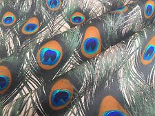 PAVO REAL Fans Tela De Algodón Estampado Animal plumas -112 cm ancho - BEIS