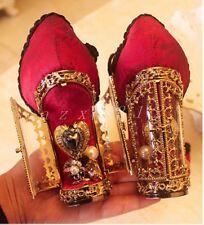 Womens Genuine Suede Rhinestones High Heel Chunky Wedding T-Strap Shoes Pumps