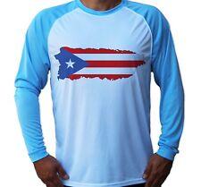 Puerto Rico Flag Island Art UV UPF 50 Long Sleeve Fishing Beach Boat Shirt