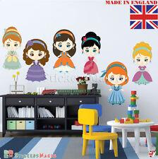 6 Princess- Nursery Wall Sticker Decals- REPOSITIONABLE Fabric REMOVABLE Vinyl