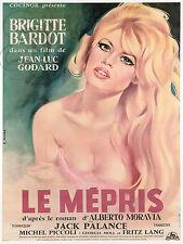 REPRO AFFICHE BRIGITTE BARDOT BB LE MEPRIS GODARD SUR PANNEAU MURAL EN BOIS HDF