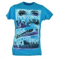 Live Rock Electric Guitar Instrument Music Blue Tshirt Tee Novelty Mens