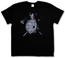 VIKING WARRIOR T-SHIRT - Viking Ragnarök Loki Sword Shield Celtic Triskel Thor