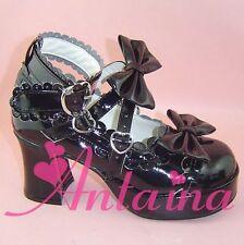 schwarz lolita Shoes Schuhe gothic Stöckel cosplay MOON PHASE ciel bat cave Lack