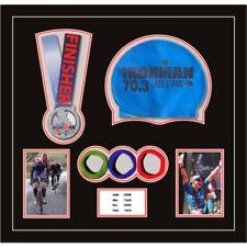 Ironman Triathlon Marathon Running Medal Swim Cap Photos & Title | Black Mount