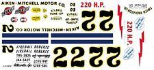 #22 Fireball Roberts 1957 Aiken-Mitchell Motor Co. 1/32nd Scale Slot Car Decals