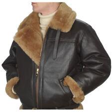 RAF Aviator Brown Bomber Real Shearling Sheepskin Leather Bomber Flight Jacket