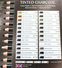 Derwent Tinted Charcoal Kohlestifte 24 verschiedene Farbtöne