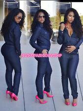 Women Fashion Long Sleeve Lapel Casual Long Jumpsuit Long Pants Playsuit Bodysut