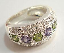 Elegant Women Round Cut Peridot & Amethyst 925 Silver Wedding Ring Size 6-10