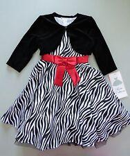 RARE EDITIONS® Girl's 2T Zebra Print Velvet Jacket & Holiday Dress *NWT $60
