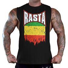Men's Shredded Rasta Flag Black T-Shirt Tank Top Reggae Beast Workout Gym Tee