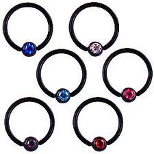 1,6mm SCHWARZ Piercing Ring mit 5mm Kristall Kugel Ohr Tragus Helix