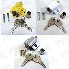 PATIO DOOR/WINDOW LOCKING CATCH LOCK + 2 KEYS & SCREWS CHOOSE White Silver Brass