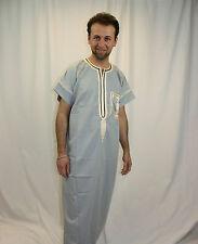 wunderschöner Herren Kaftan in grau mit orientalischer Stick-Bordüren KAM00518