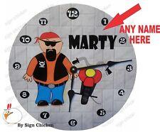 Personalized Custom Name Design, Wall Clock, BIKER, MAN, MOTORCYCLE, HARLEY