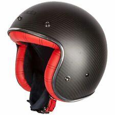 Spada Dark Star Carbon Motorcycle Motorbike Open Face Helmet - Interior Red