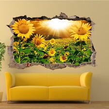 SUNSHINE SUNFLOWER FIELD WALL STICKER 3D ART MURAL POSTER DECAL HOME DECOR VZ5