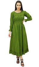 bimba Frauen grün Baumwolle Smok Taille Kleider lang Maxi Kleid Boho Chic Sommer