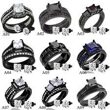 Womens Black Stainless Steel Princess Cut CZ Wedding Engagement Ring Set