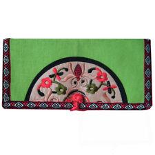 portefeuille porte monnaie femme Vert idée cadeau satin broderies multicolore