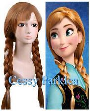 Frozen Anna Disney Brown W/White Braided Pigtails Adults Children Wigs 300g 220g
