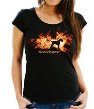 Damen T-Shirt TSCHECHISCHER WOLFHUND FEUER UND FLAMME by Siviwonder Hundemotiv