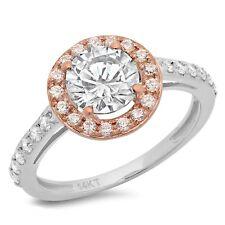 2.3ct Round Cut Halo Wedding Bridal Engagement Anniversary Ring 14k TwoTone Gold