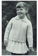 Girl's Aran Jacket. cardigan + collar, knitting pattern, girl. Also as PDF.