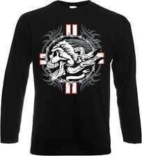 Maglietta Maniche Lunghe con un Gotico Biker - Tattoomotiv Modello Croce Teschio