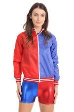 Women's Red Blue PVC Wet Look Zipper Jacket Long Sleeve Halloween Fancy Dress