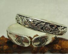 "Long & Thick Copper Tibetan Sunrise Dragon Phoenix Engraved Cuff Bracelet 7 1/2"""