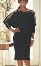 Ashro Black Rhinestone Embellished Formal Holiday Party Dominika Dress XL 1X