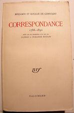 CORRESPONDANCE/ BENJAMIN ET ROSALIE DE CONSTANT/1955