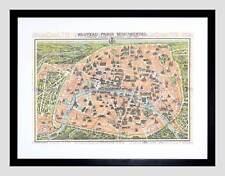 MAP ILLUSTRATED ANTIQUE GARNIER PARIS FRAMED ART PRINT MOUNT B12X4930