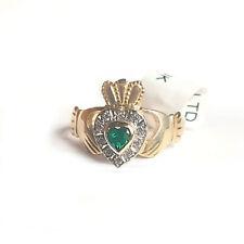 Irish 10K Ladies Gold Claddagh Ring.Simulated Emerald & Diamonds Made In Ireland