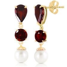 Genuine Red Garnet Gemstones & Cultured Pearls Dangle Earrings in 14K Solid Gold
