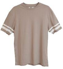 Mens Beige Thick Cotton T Shirt White Single Stripe Sleeve Ex Topman