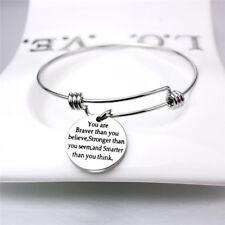 You are Braver Than You Believe Letter Print Women Jewelry Bangle Bracelet Jian