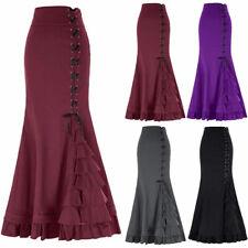 Vintage Womens Gothic Long Steampunk Skirts Mermaid Maxi Fishtail Charm Dresses