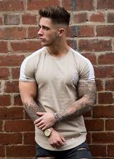 Mens Gym King Longline Curved Hem Slim Fit Designer Short Sleeve T Shirt Tee Top
